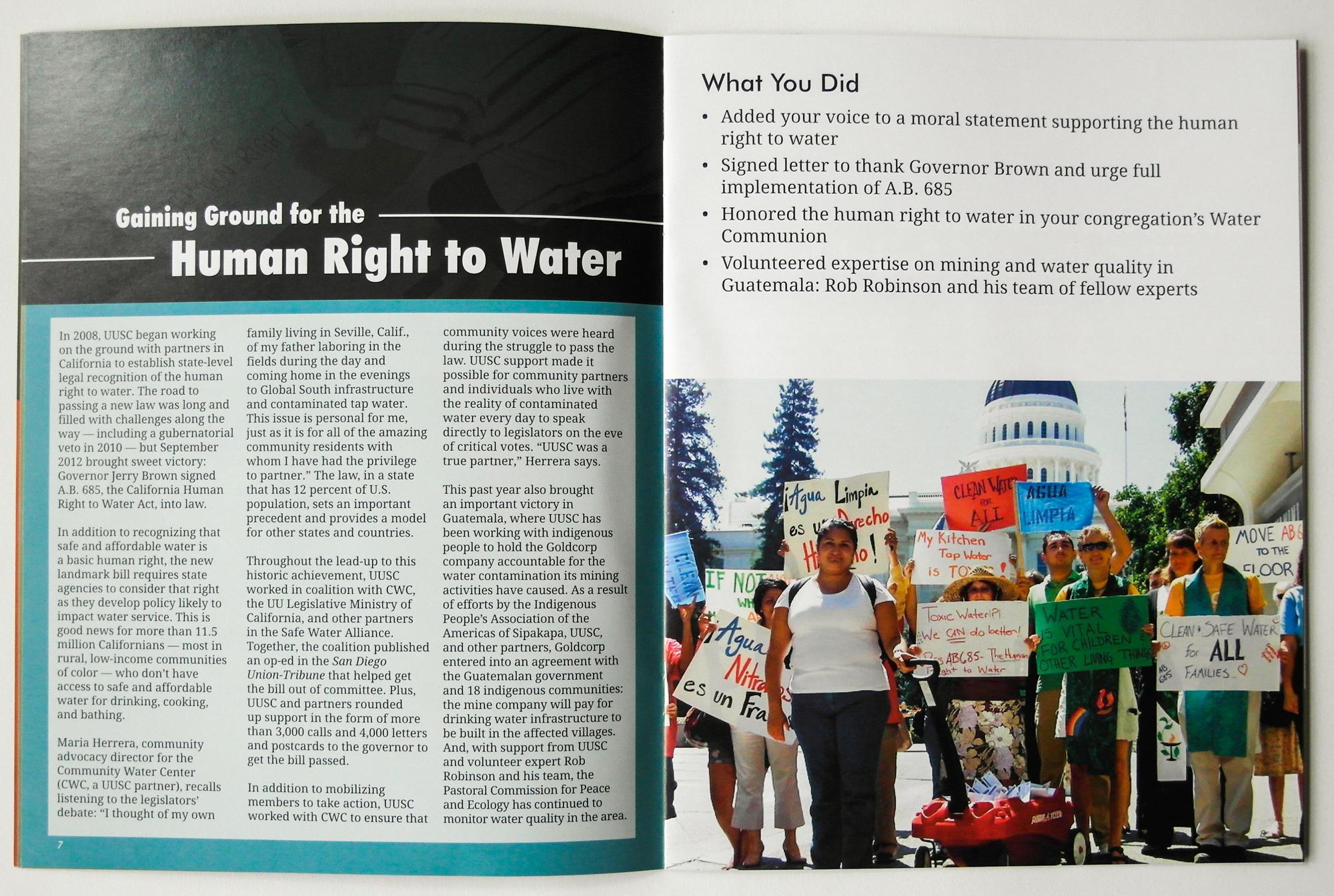 UUSC Annual Report sample page, 2014