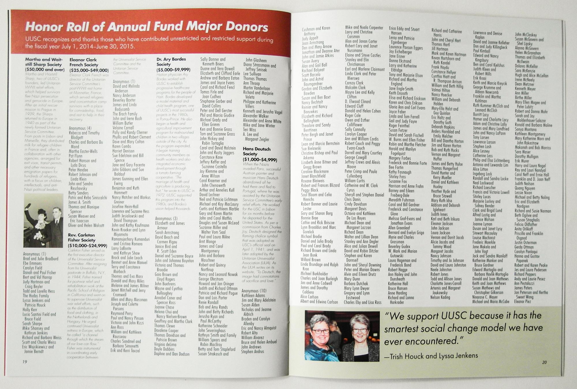 UUSC Annual Report sample page, 2015