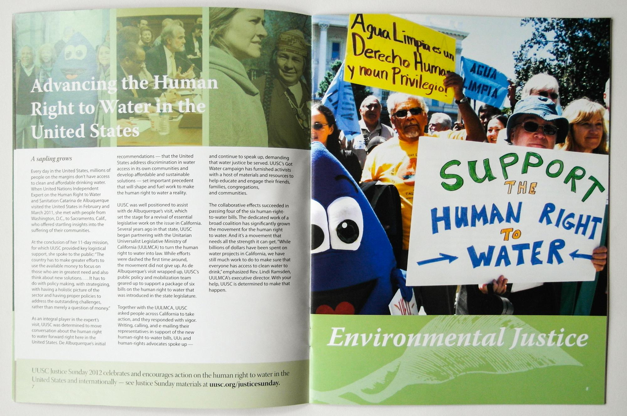 UUSC Annual Report sample page, 2011