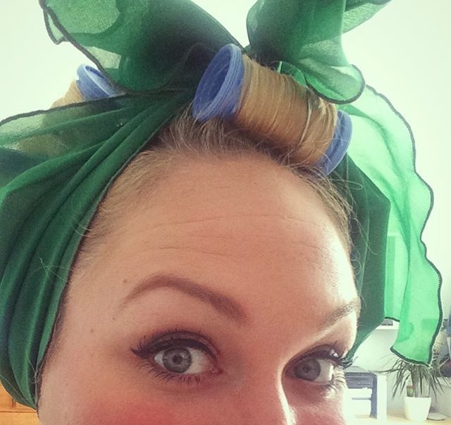 When leaving the house in curlers, it is customary to wrap them in a fabulous scarf.