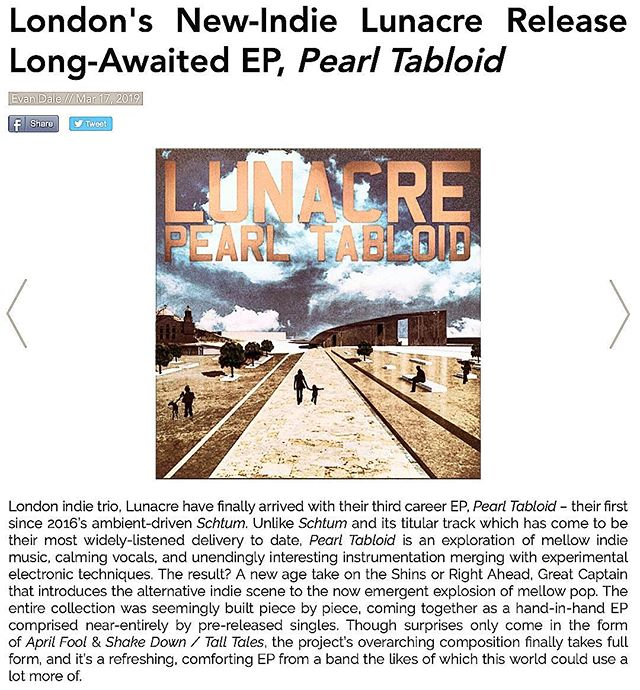 """A refreshing, comforting EP from a band the likes of which this world could use a lot more of."" Thanks for the review of Pearl Tabloid @rngldrmag  Out now! Link in Bio."