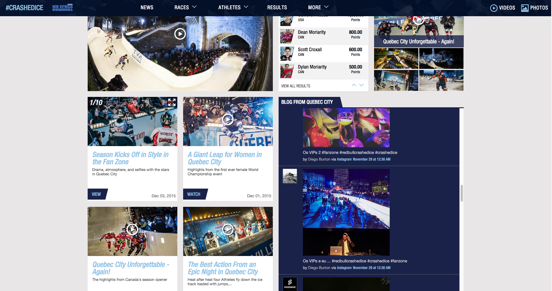 The Event's Live Blog, shown in-situ on the relevant event page once the event is complete