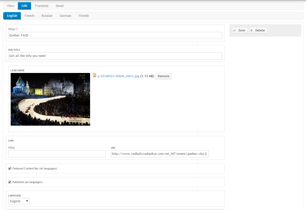 The Homepage 'Featured Content' and 'Featured Content Bar' are easy to manage in the CMS