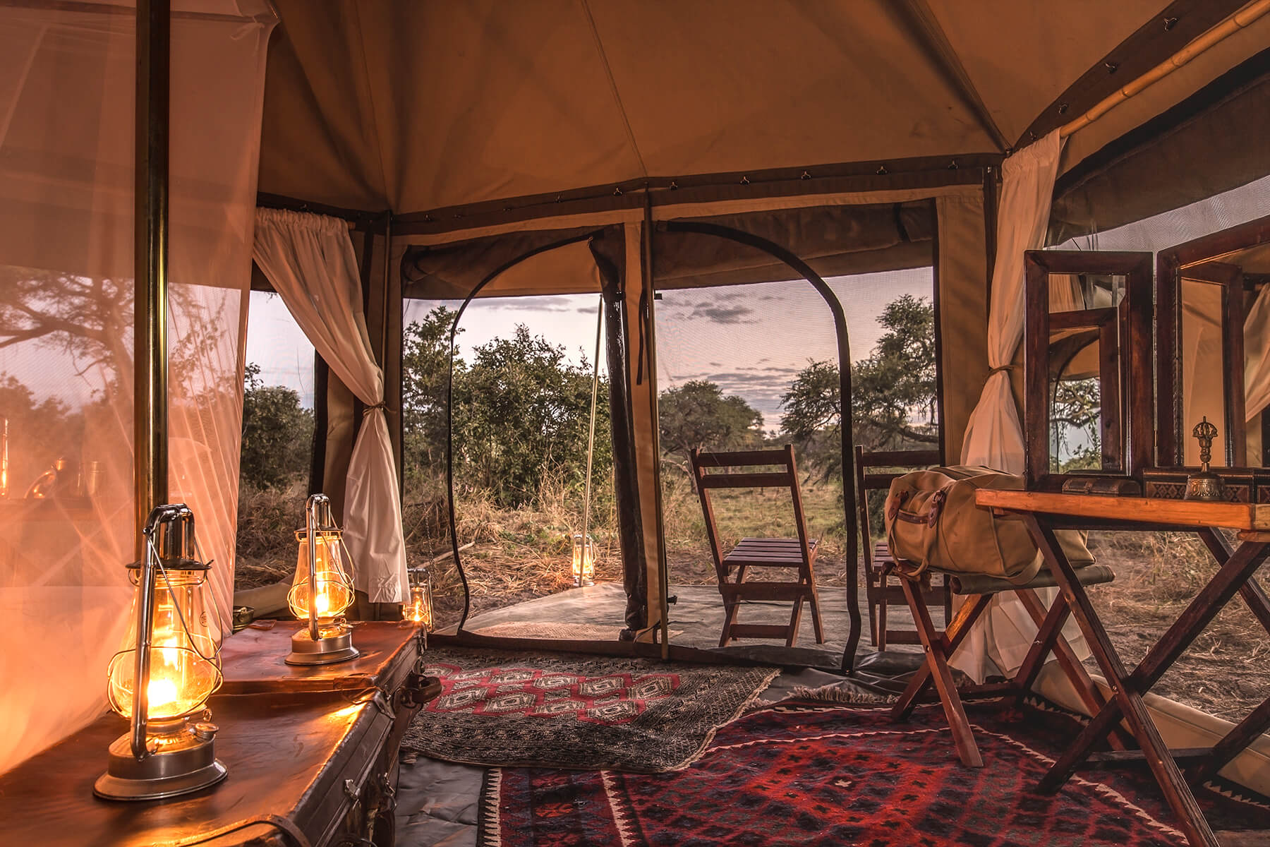 Our one of a kind private canvas tents are spacious and soul soothing...