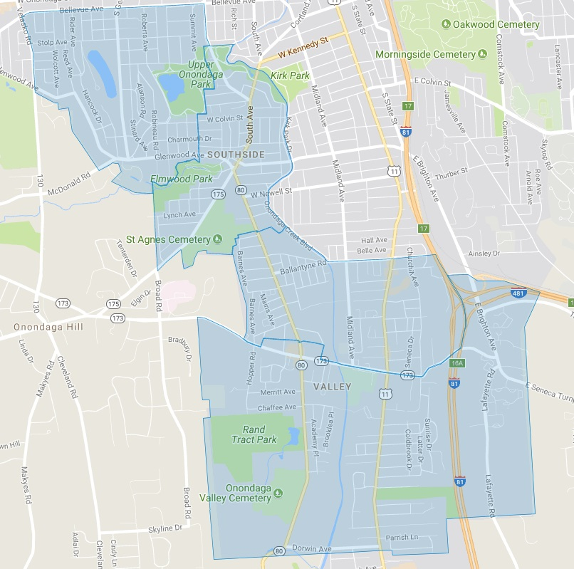 Map of Eligible Neighborhoods: Strathmore, Elmwood, North and South Valley
