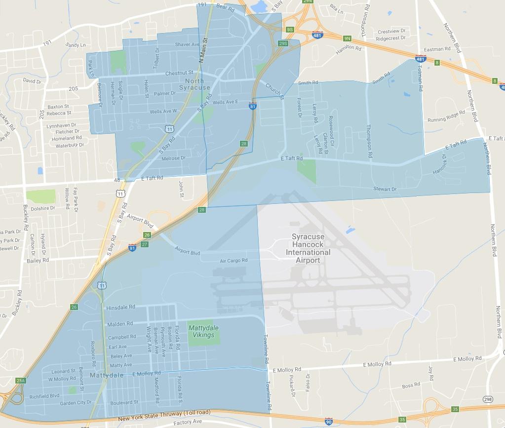 Map of Eligible Neighborhoods: Cicero, North Syracuse, and Mattydale
