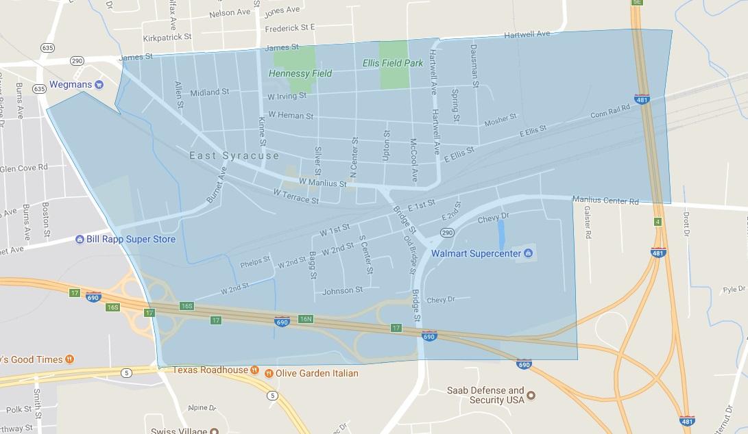 Map of Eligible Neighborhoods: East Syracuse