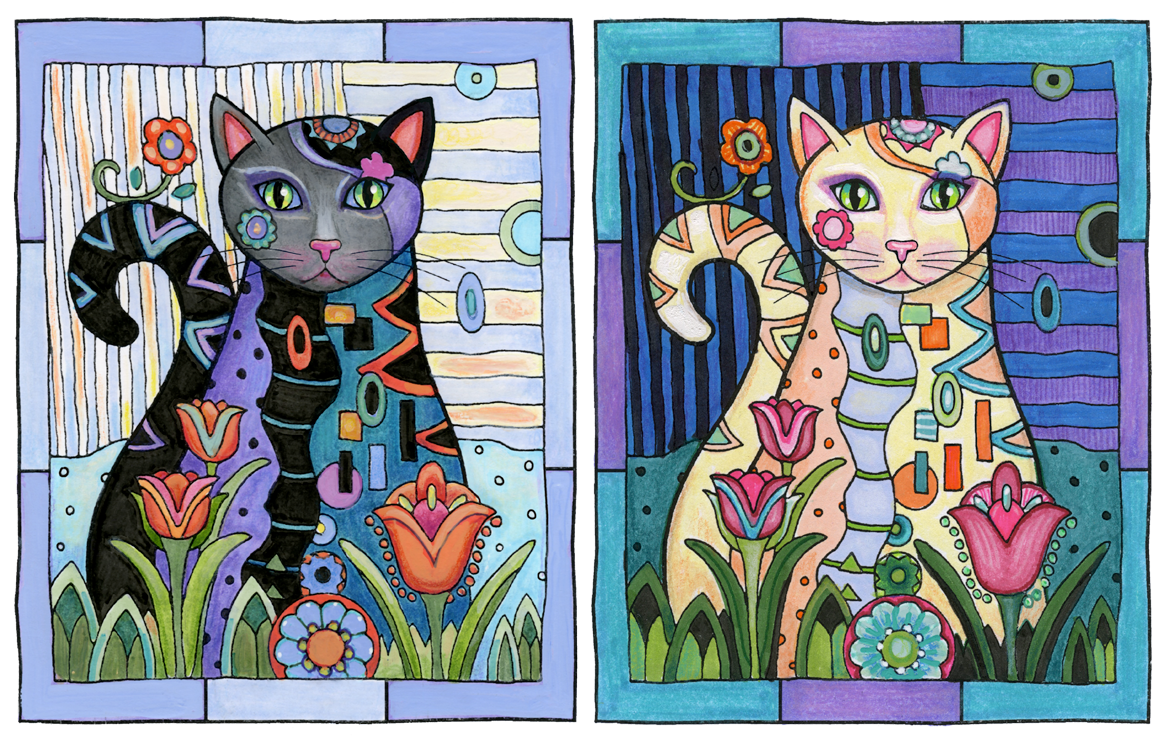 EXAMPLES OF HIGH CONTRAST: Left, dark subject against light background. Right, light subject against dark background. © Marjorie Sarnat. Original line art illustration is from   Creative Cats .