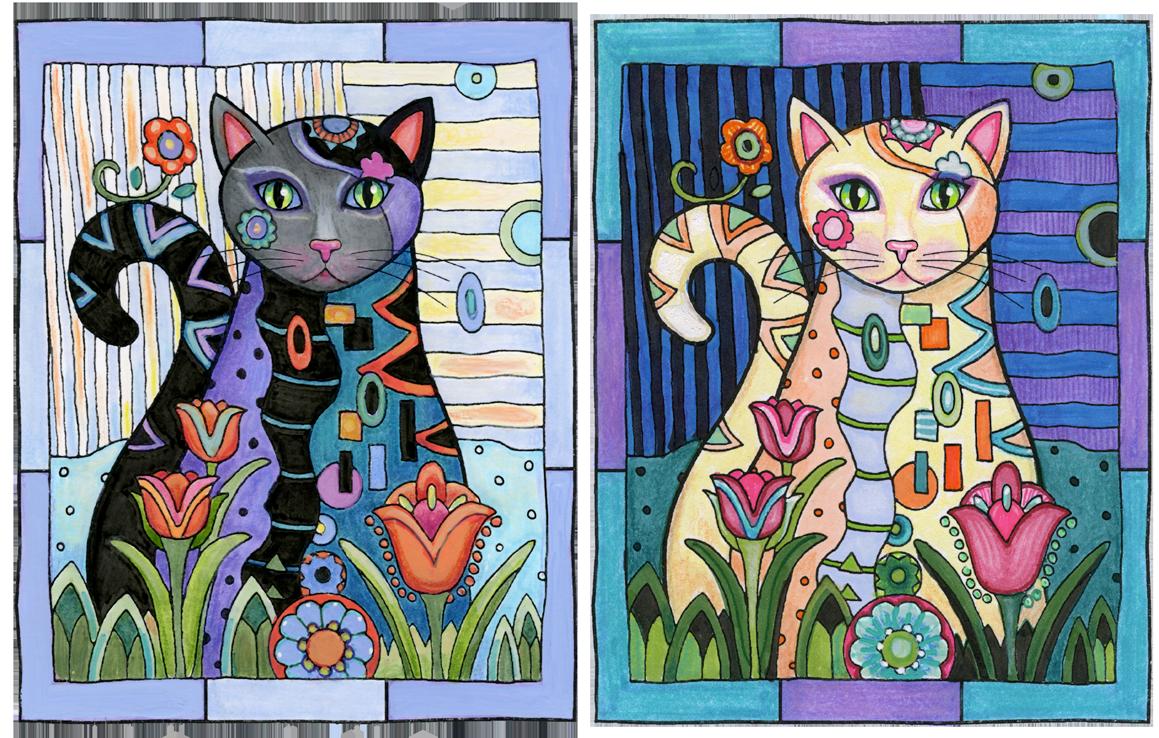 EXAMPLES OF HIGH CONTRAST: Left, dark subject against light background. Right, light subject against dark background.© Marjorie Sarnat. Original line art illustration is from   Creative Cats .