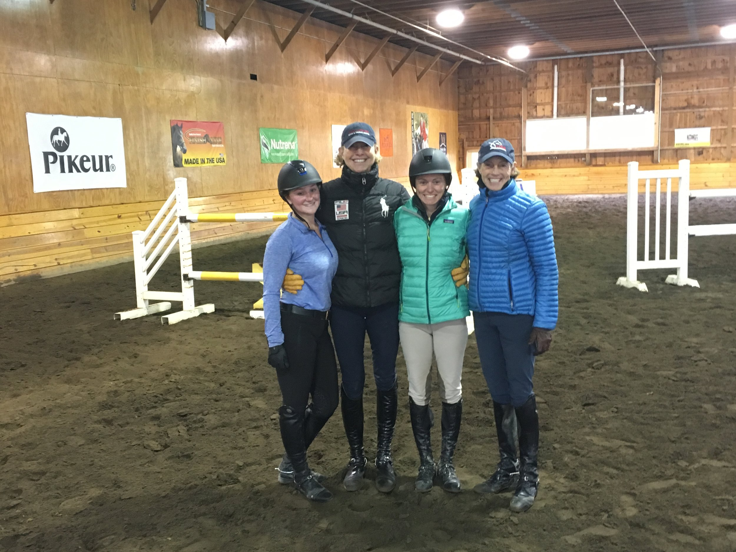 Stevie and student Lili Marshall with Anne Kursinski and her partner Carol Hoffman at Market Street in New Jersey -