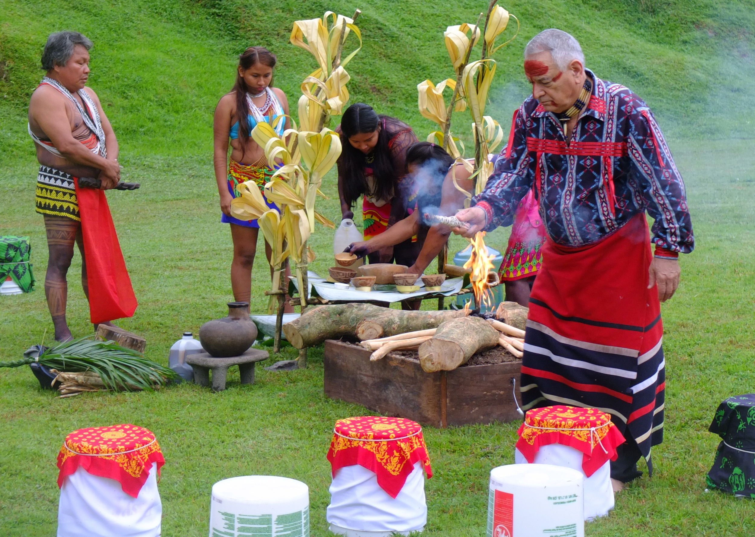 Four Worlds International Institute's Chief Phil Lane Jr. joins Embera Ceremony to bless new campus.