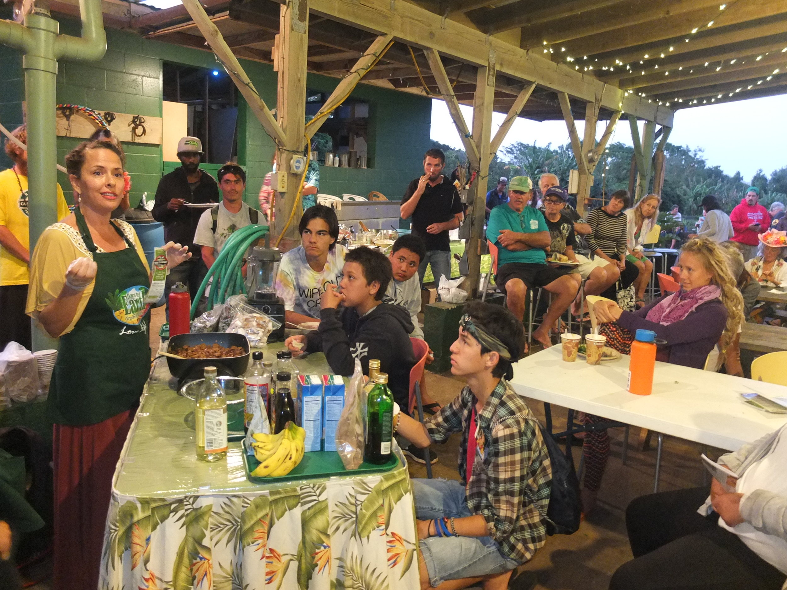 """Trisha """"Mama T"""" Gonsalves of Down To Earth Natural and Organic along with local farmers host ITY-Na kama Kai for an organic feast during her """"Food as Medicine"""" demo."""