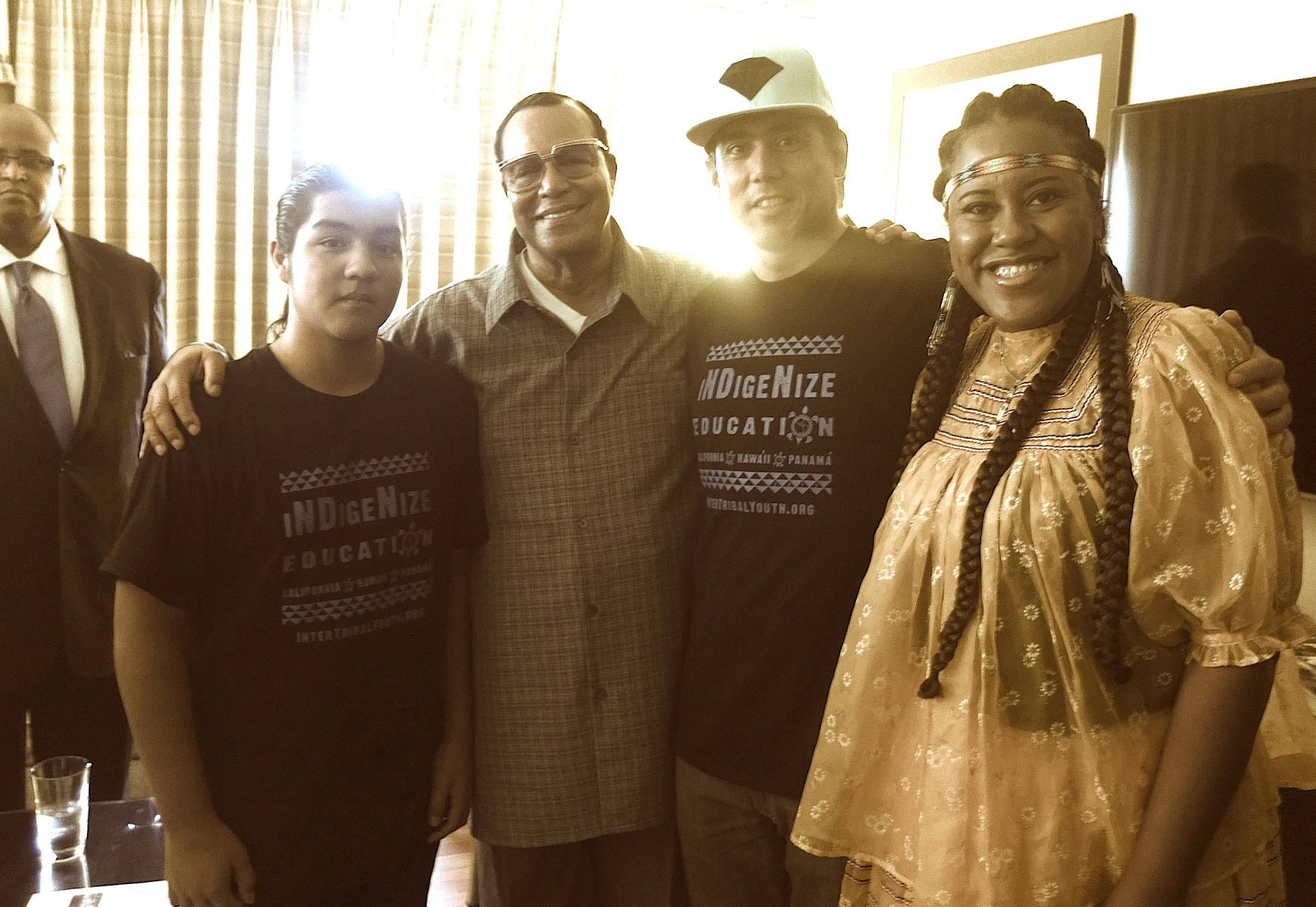 UNITY Keynote Hon. Minister Louis Farrakhan morning meeting with ITY Youth Tim Siva (Agua Caliente), ITY Director, Marc Chavez, and Native Latino organizer Yonasda Hill (Lakota) , at National Unity 2015.