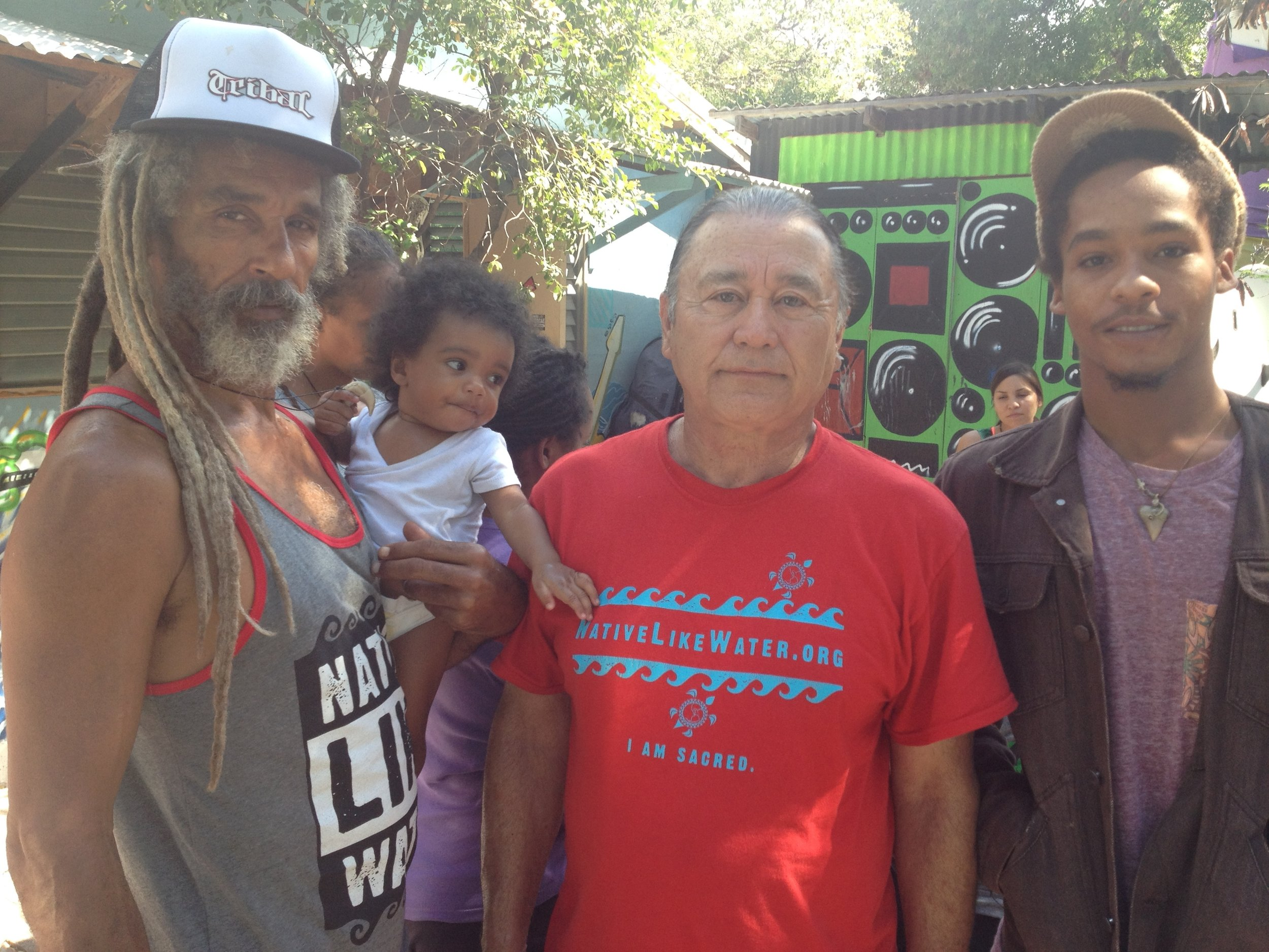 Patriarchs of the Indigenous Movements in Jamaica and California, respectfully.Uncle Billy Mystic and Uncle Larry Moto Banegas with youth, Jamnesia Surf, Skate and Music Camp.