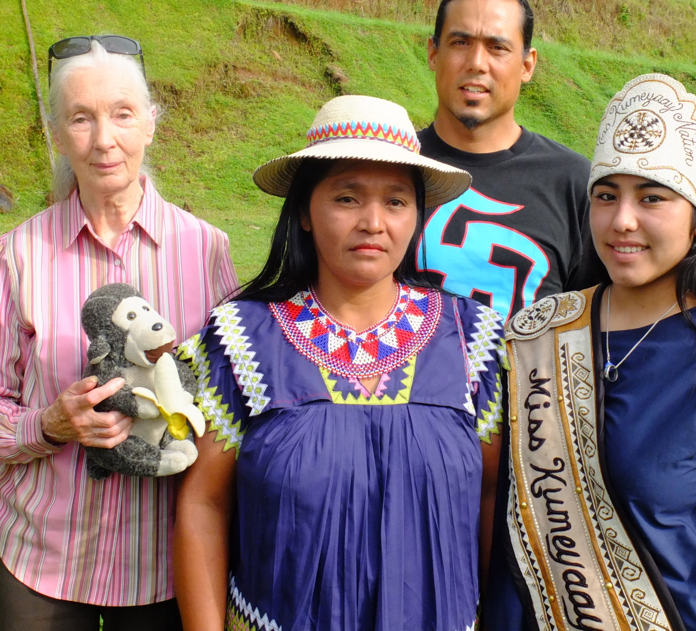 """DR. JANE GOODALL OF """"ROOTS AND SHOOTS"""" , CHEIF SILVIA, AND 2014 MISS KUMEYAAY, DESTINY MORALES, BLESS NEW BIOCULTURAL LEADERSHIP CENTER ON THE PANAMA CANAL WITH EARTHTRAIN.ORG, INTERTRIBALYOUTH.ORG AND FOUR WORLDS INTERNATIONAL."""