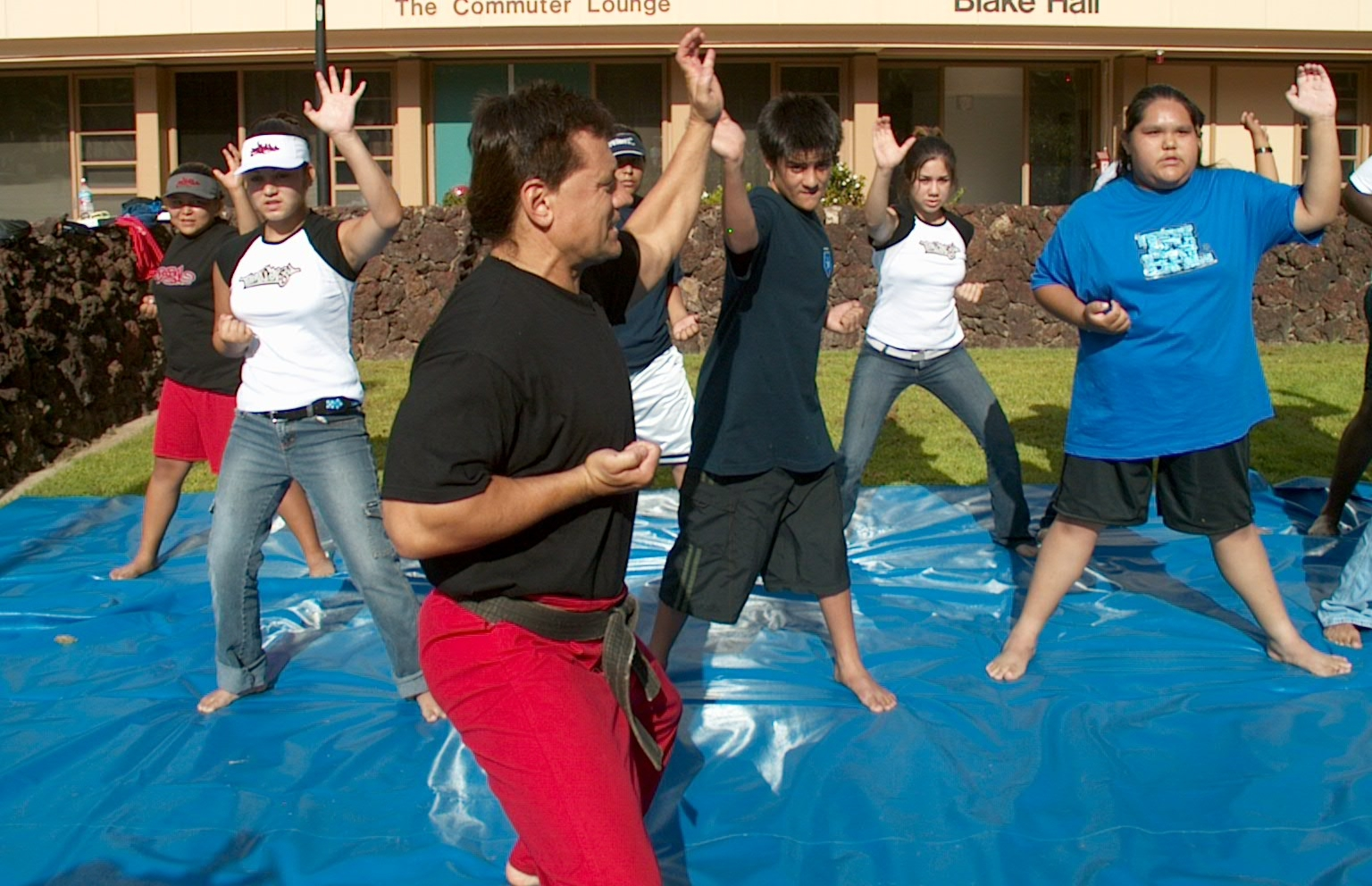 Since in the inception of InterTribal Youth Programming 18 years ago, Self defense is vital to the daily regimen, curriculum and holistic approach to education. Sensei Jackson, One World BRidge Director, and ITY Alum demonstrate the bear claw. Its reall out there, especially for young females, and self defense is key to survival Photo Circa 2004