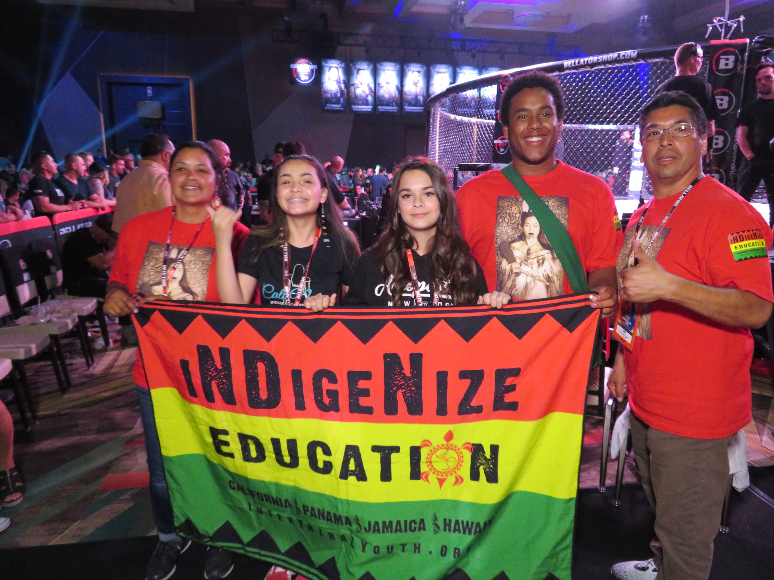 During Ilima-Lei's 2018 title defense fight in pechanga, California,. Two scholarship Donors meet Cheyna and Alexis (middle Black T's), two of the five, of the scholarship recipients
