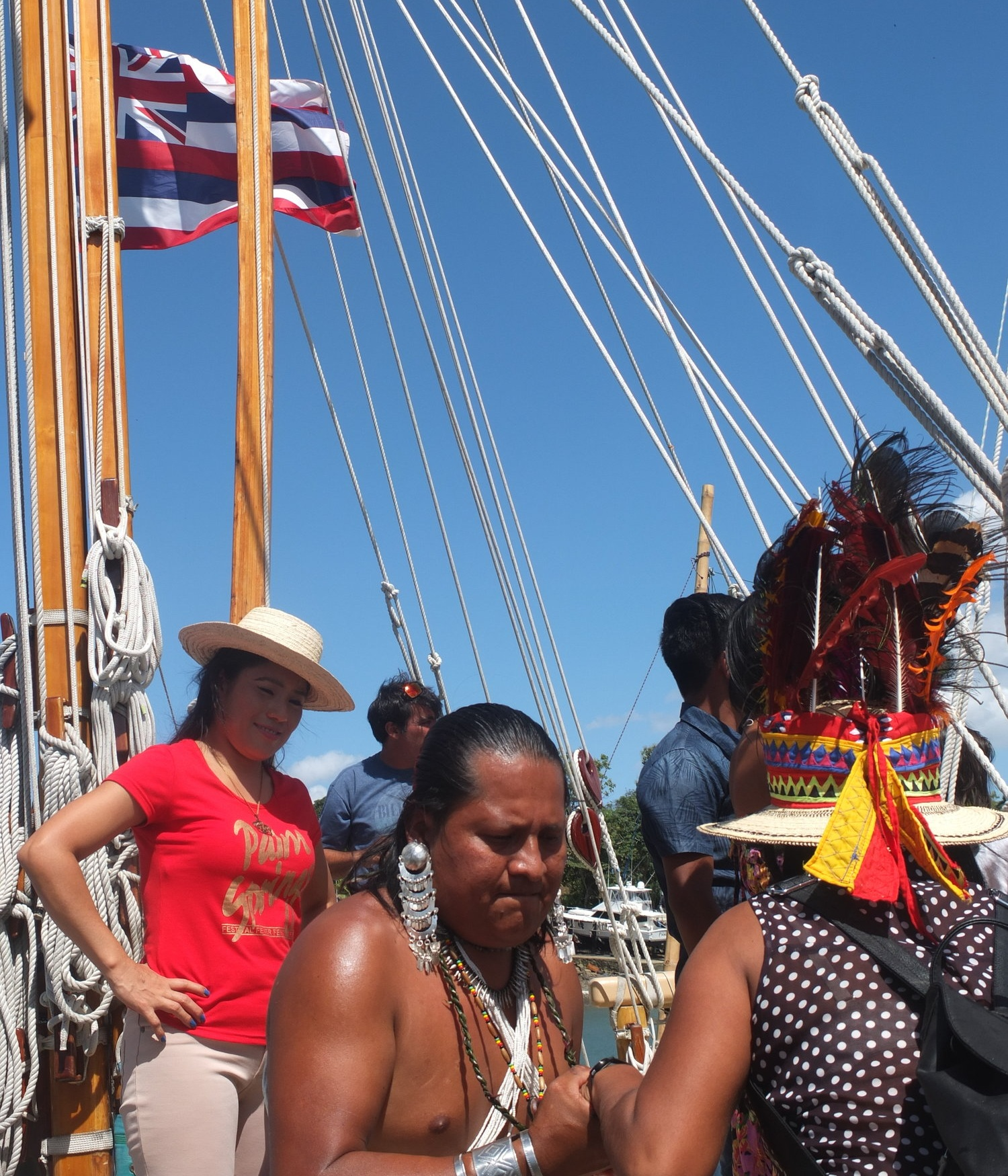 Tribal nations of Panama boarding hokulea after they pass thru the panama canal