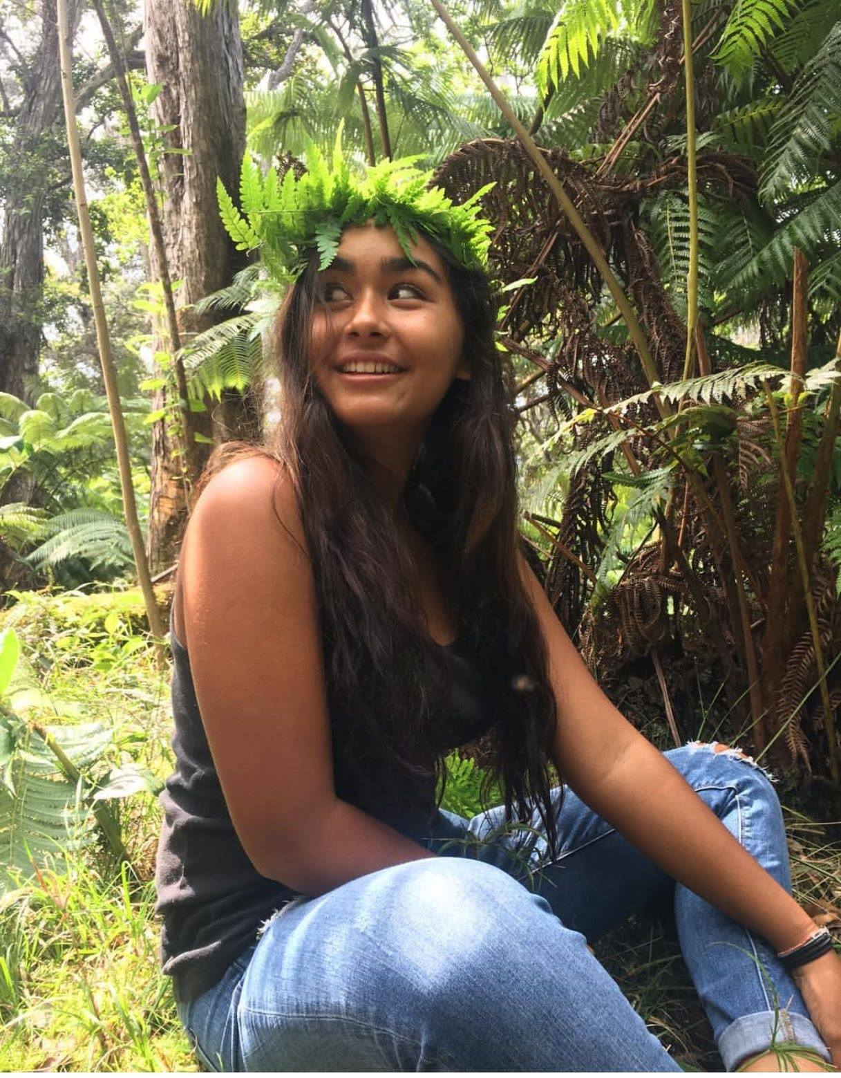 2018 nigani Inaugural Scholarship Recipient, Hali'a Locke-Nacimento  feeling comfortable in Environmental Indigenous science.