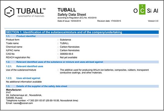 TUBALL™Safety Data Sheet