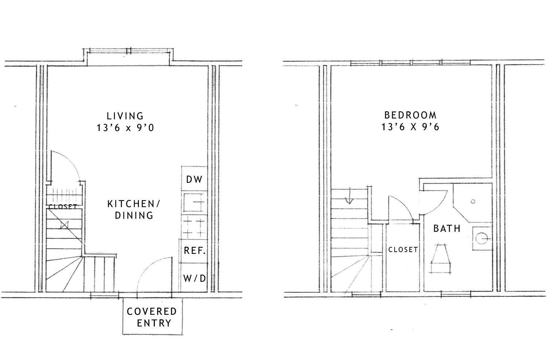 Left: First floor; Right: Second floor