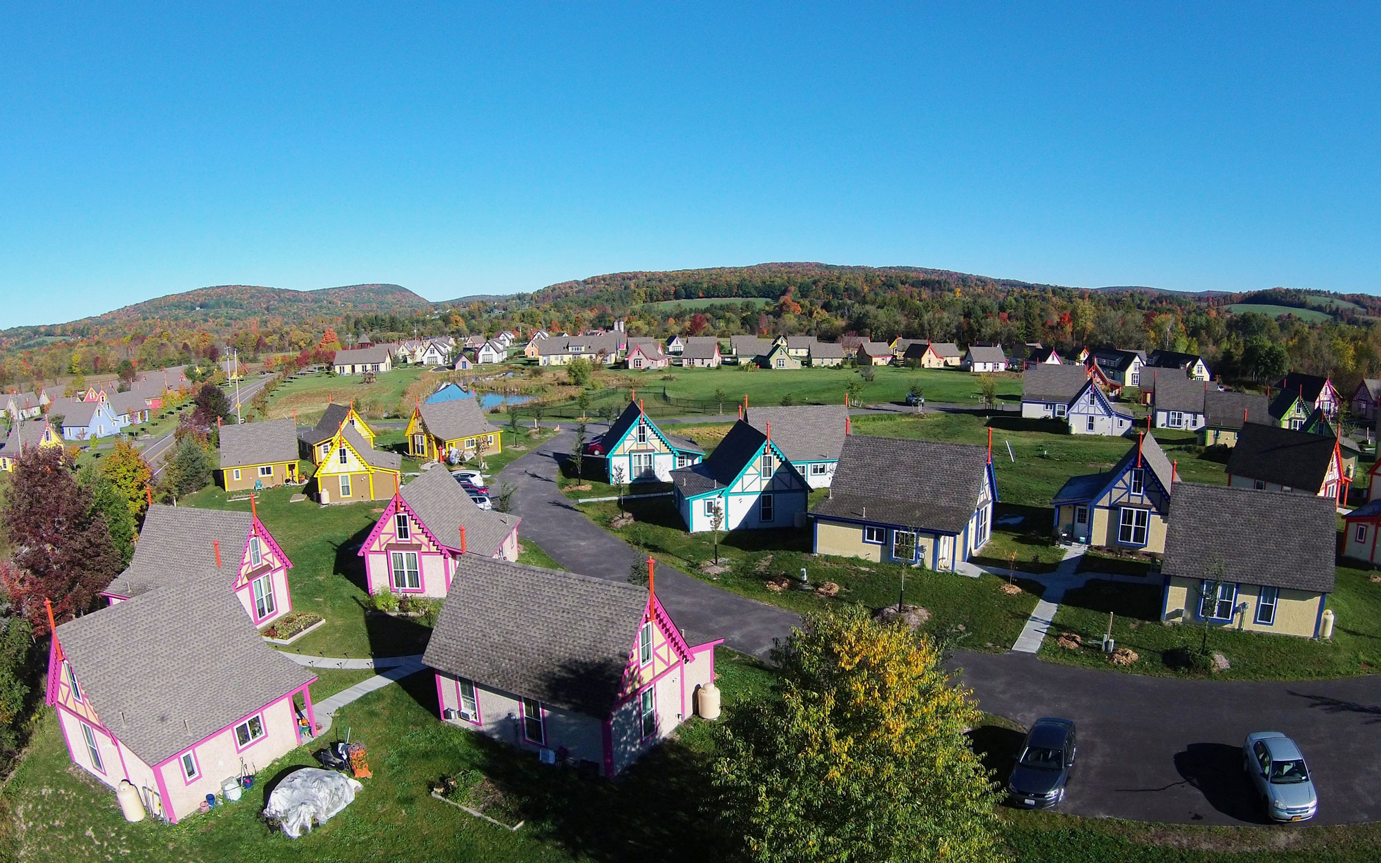 Boiceville Cottages Near Ithaca, New York - Aerial Shot