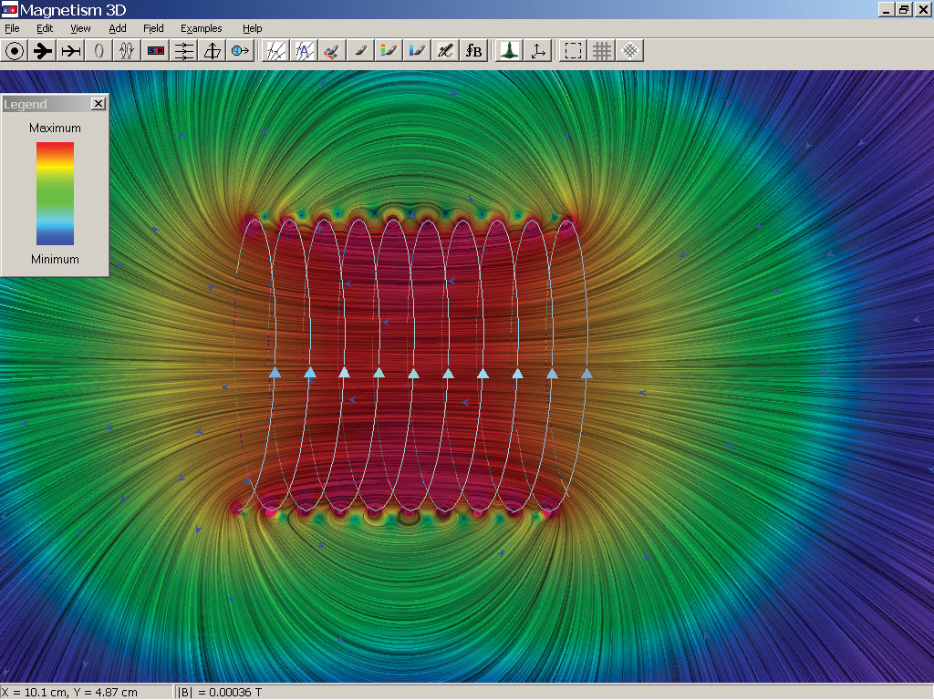 Two-dimensional display of magnetic field produced by a solenoid. Continuous magnetic field lines (linear integral convolution) are shown with color coding indicating field strength.