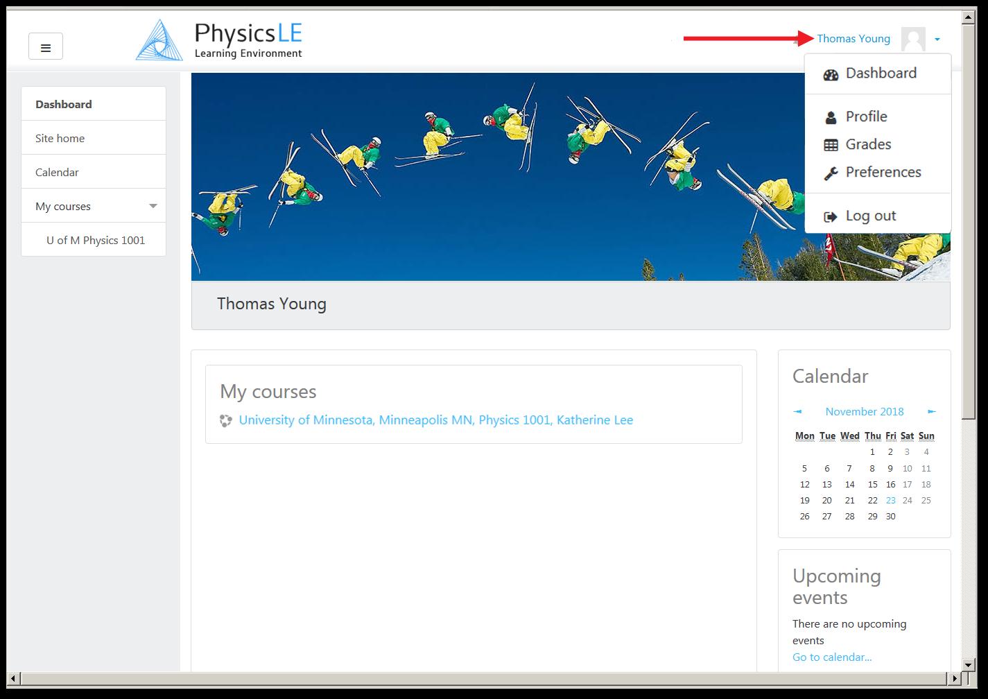 Dashboard Page showing User Menu