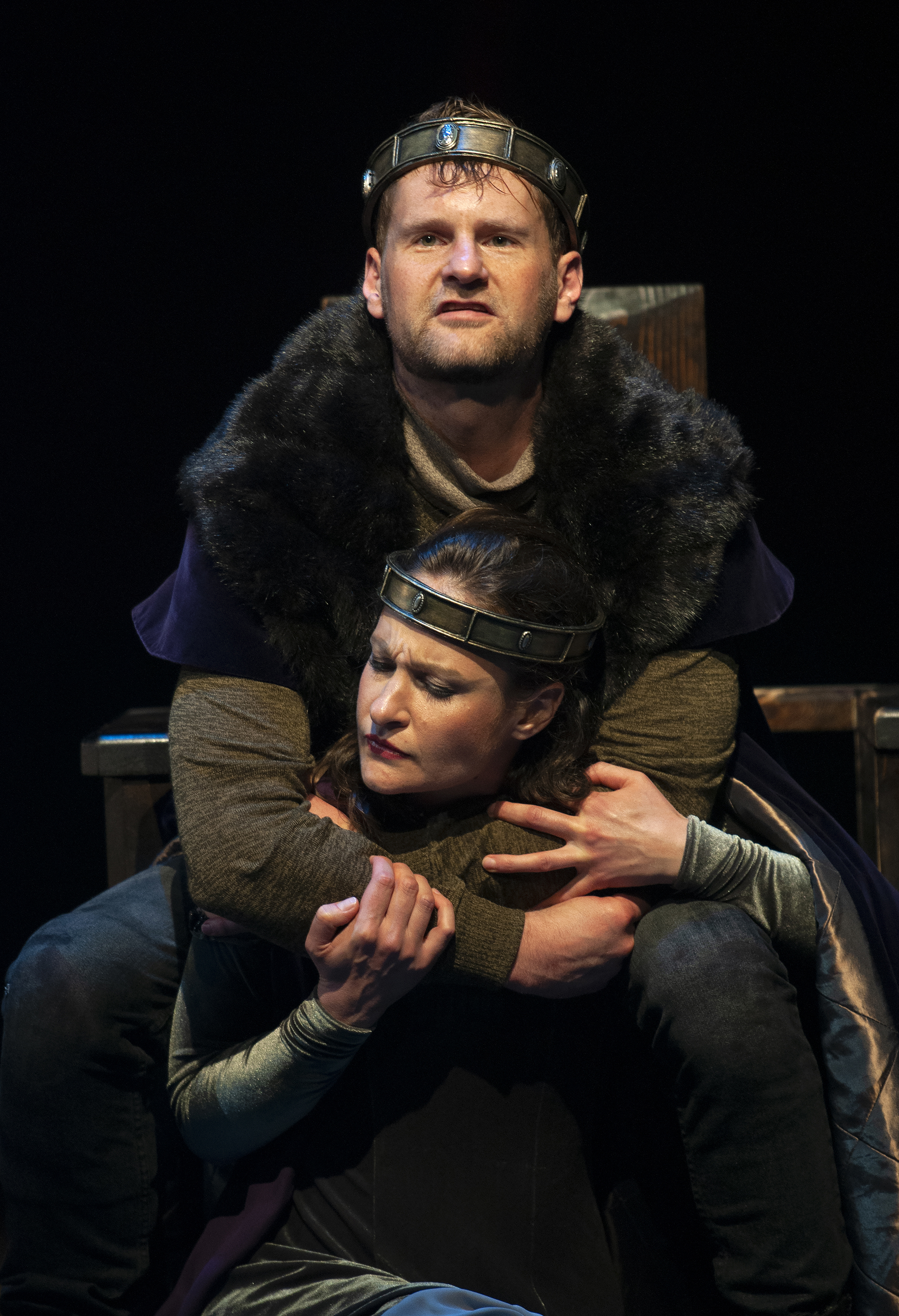 Andrew Carlson (Macbeth) and Leah Gabriel (Lady Macbeth)