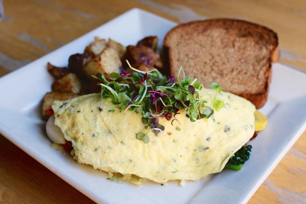 Try out the 21 Acres omelette during you next visit — it's filled with organic vegetables from one of our partners, 21 Acre Farms!