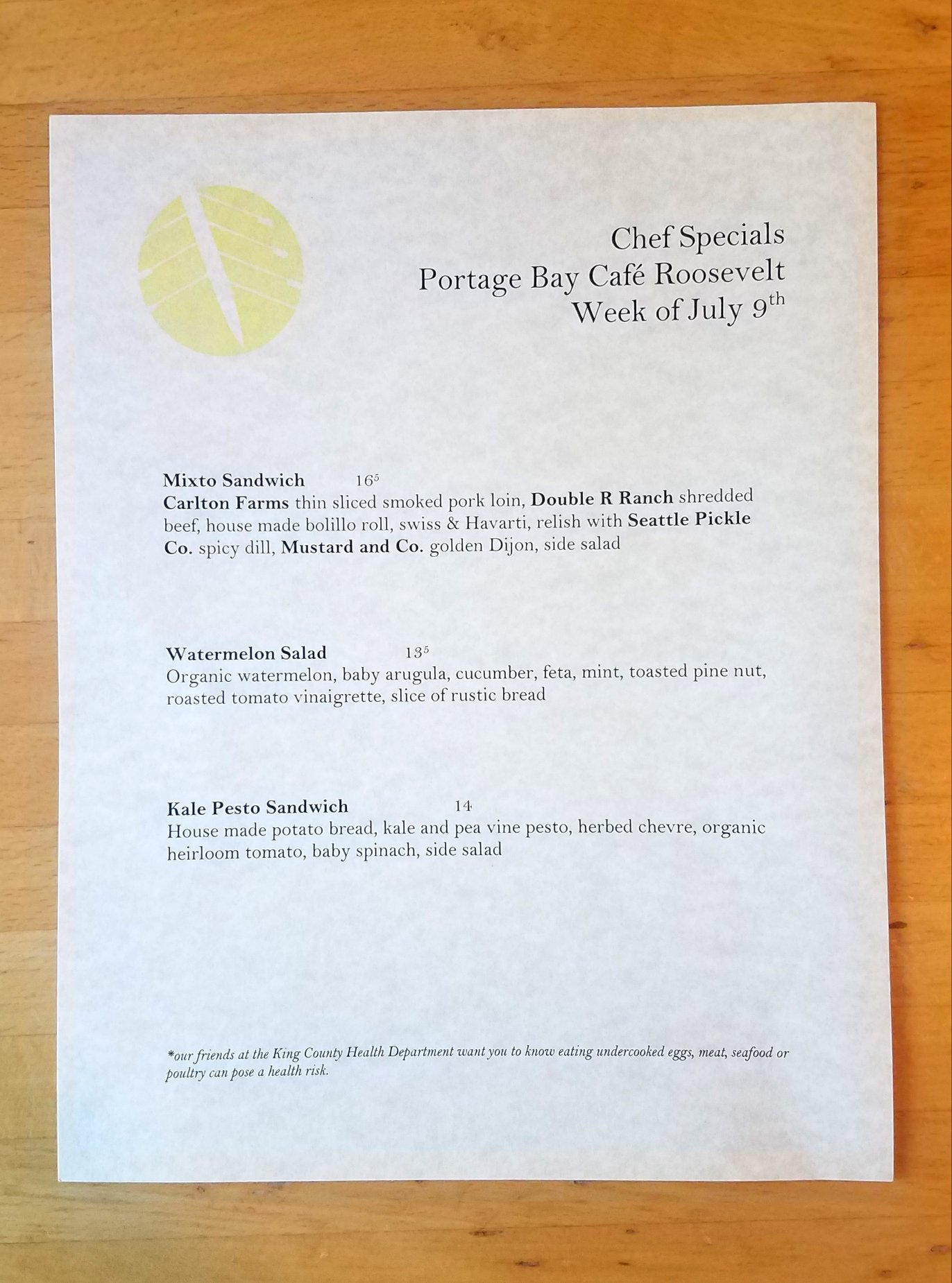 Specials featured at the Roosevelt location this week. Catch them while you can!