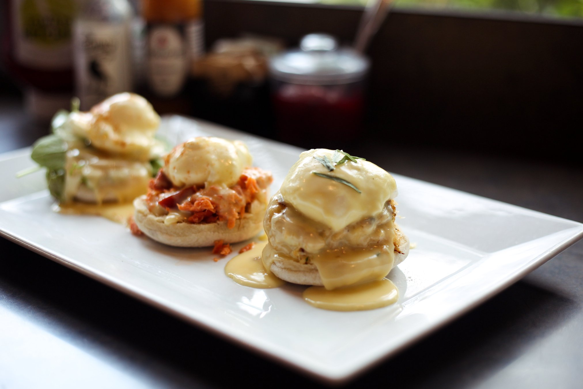 Try our Benedict Sampler! This tasty dish includes one each of our dungeness crab cake, smoked salmon, and west coast benedicts.