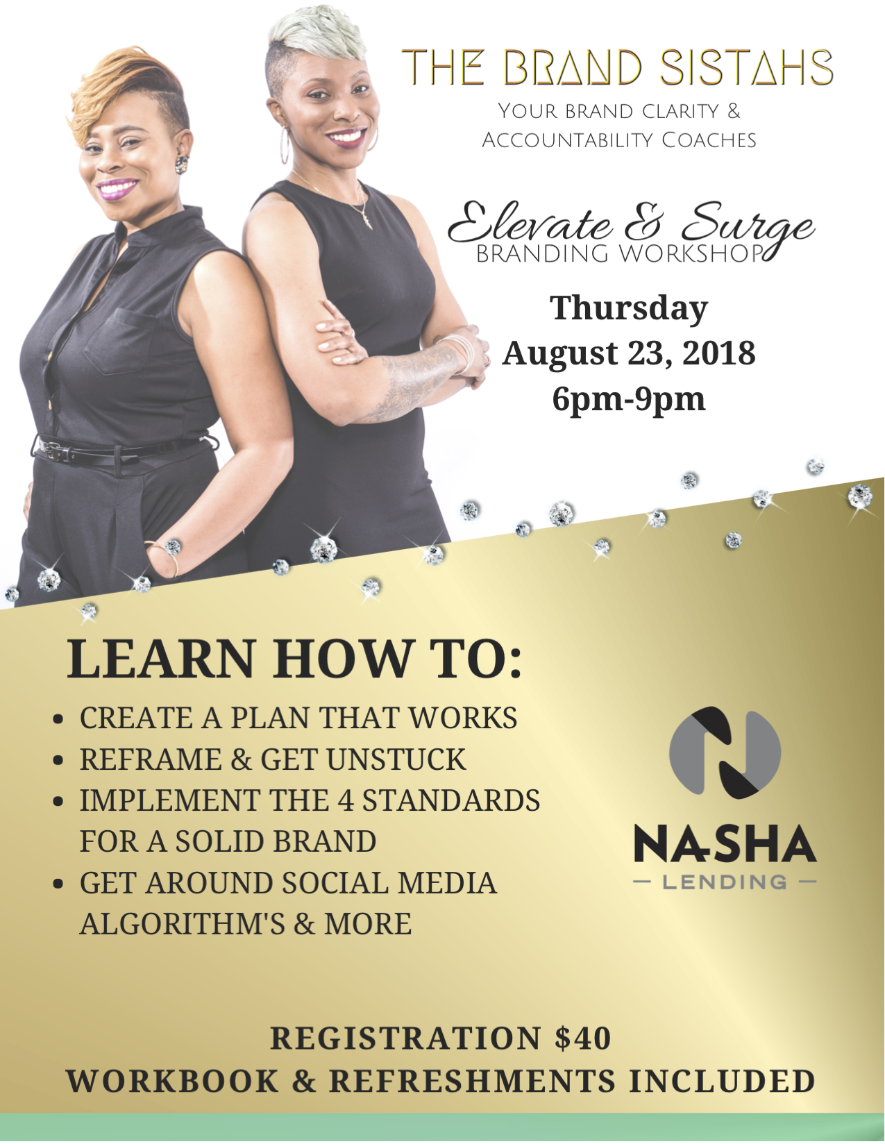 Elevate & Surge - Come out 8/23/18 to get the tools you need to take your business, brand or idea to the next level. What you will walk away with:-How to create a proper plan & execute it-How to reframe and get unstuck so you can move forward.-Learn the 4 keys of a solid brand-How to create effective ads and MORE!If any of these points hit home you need to be in the building. Get your ticket today!Date: August 23, 2018Thursday 6:00pm-9:00pmTextile Hall | 582 Perry Ave, Greenville, SC 29611Cost: $40Please register HERE