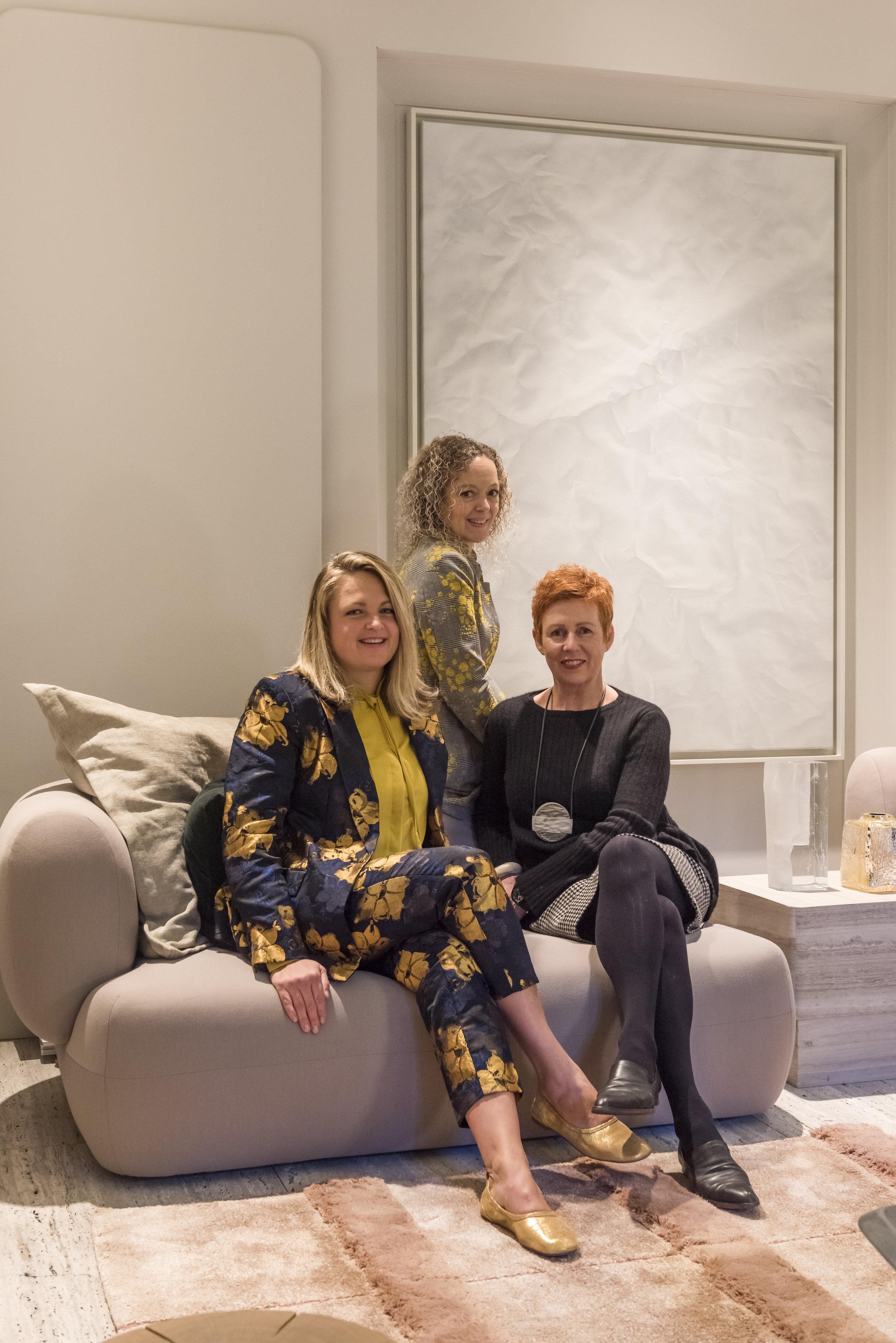 Seated with J.Phine designers, Nannette van der Vooren and Natasja Molenaar.  Photo by Andreas von Einsiedel