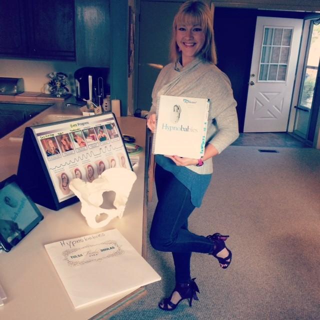 Sarah Coffin preparing to teach Hypnobabies in Heels!