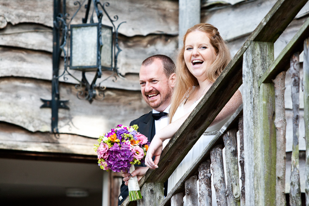Bride and Groom Big Wooden House Arran Wedding