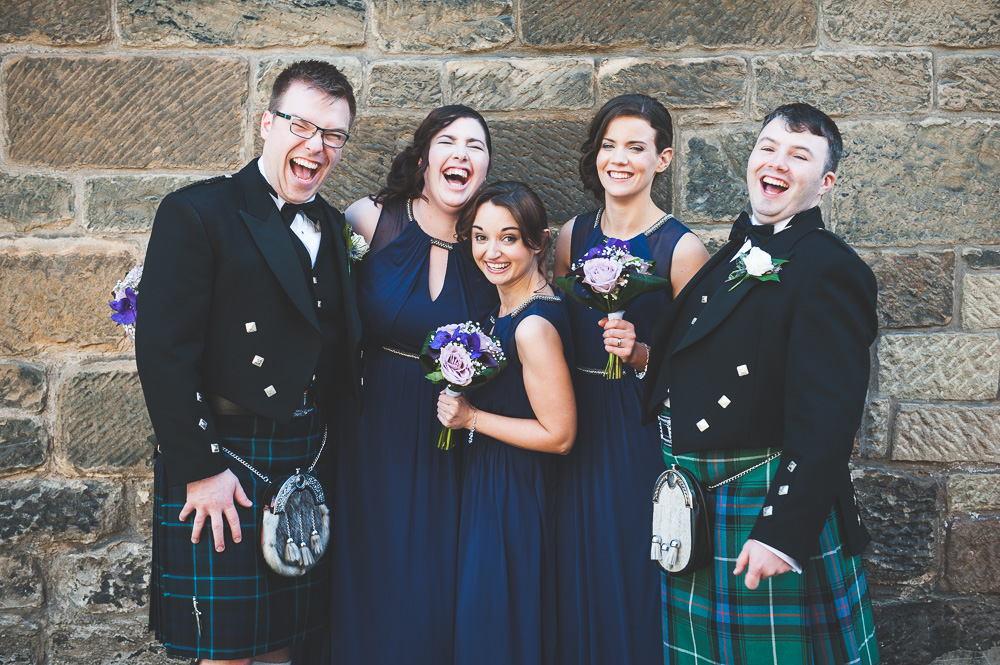 Couple and Bridesmaids Piping Centre Wedding Glasgow