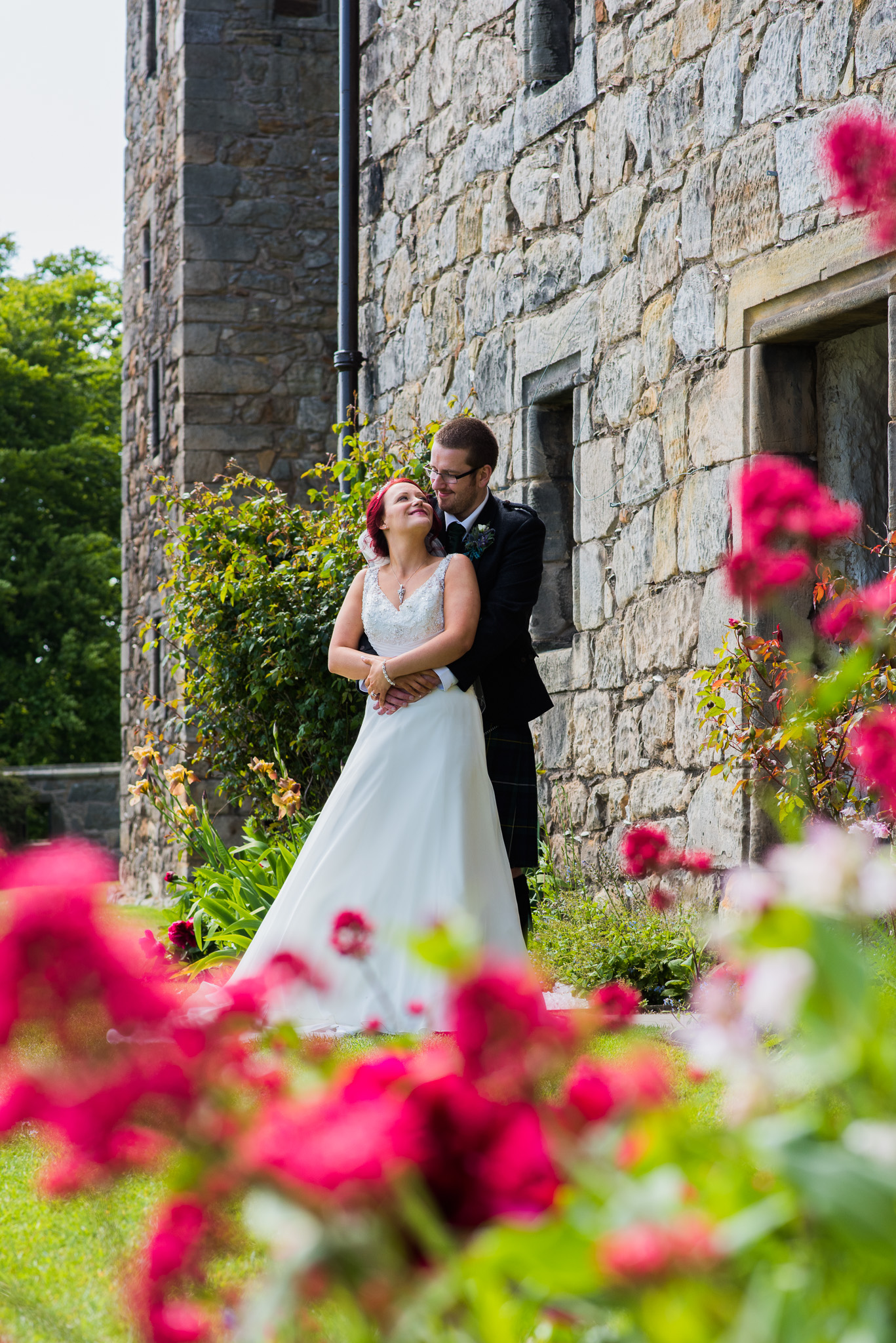 Wedding Couple Aberdour Castle Scotland