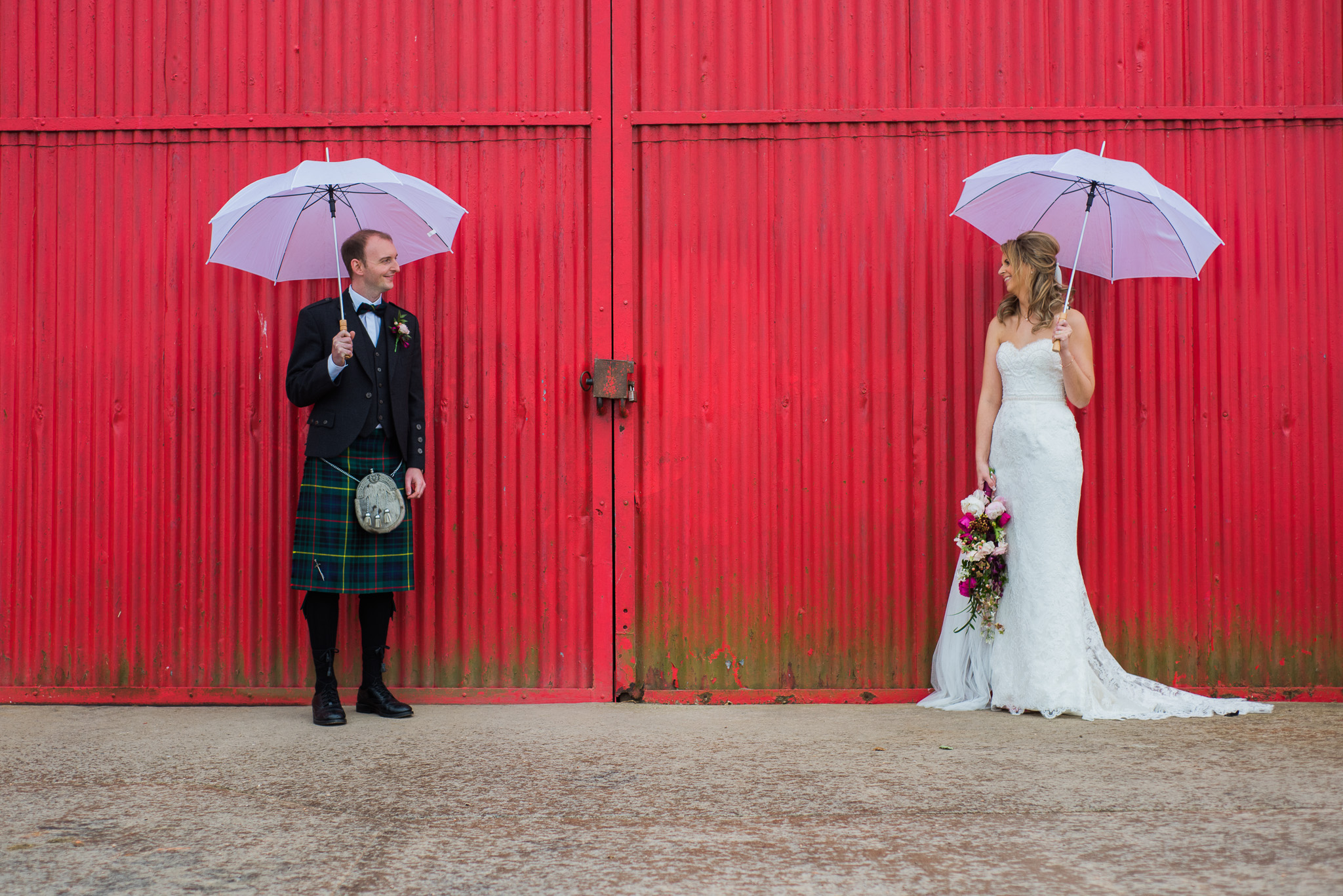 Umbrellas at Kinkell Byre Wedding