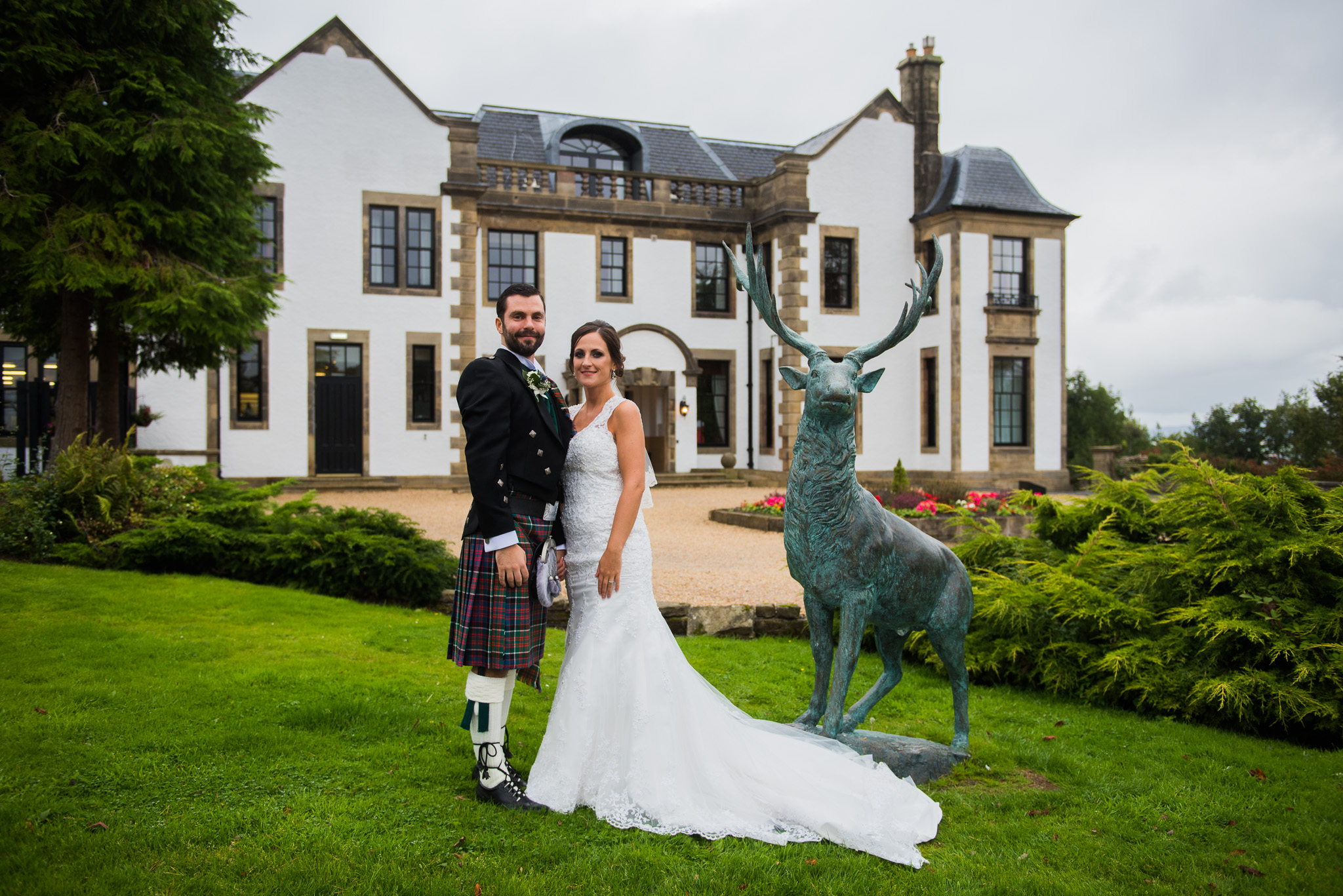 Wedding couple at Gleddoch House Hotel