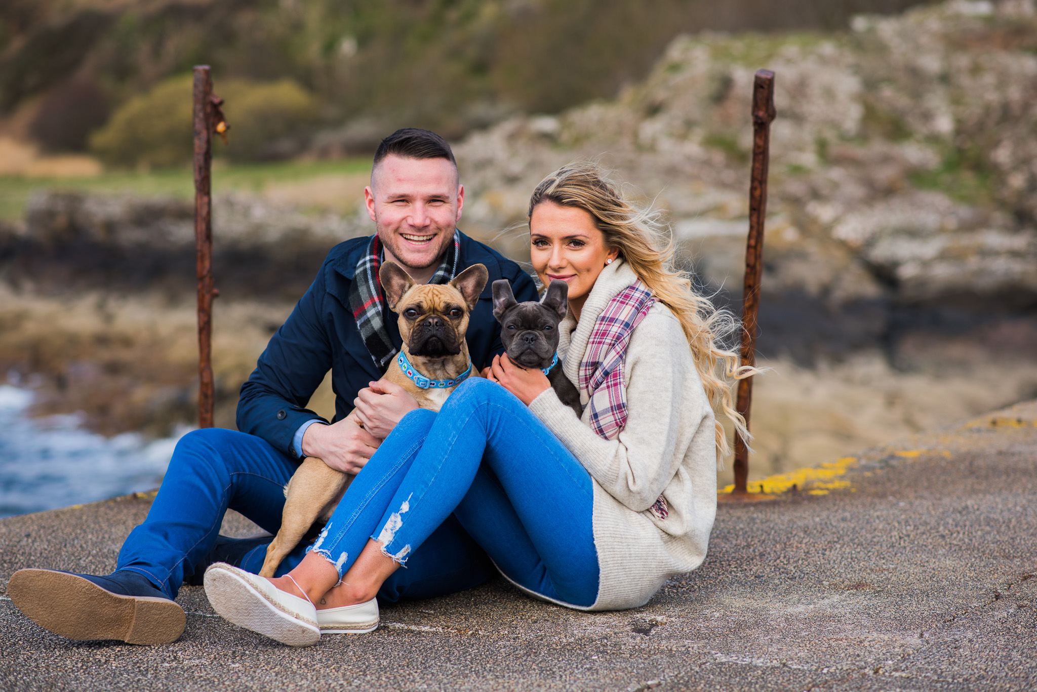 Couple with French Bulldogs at Portencross Castle