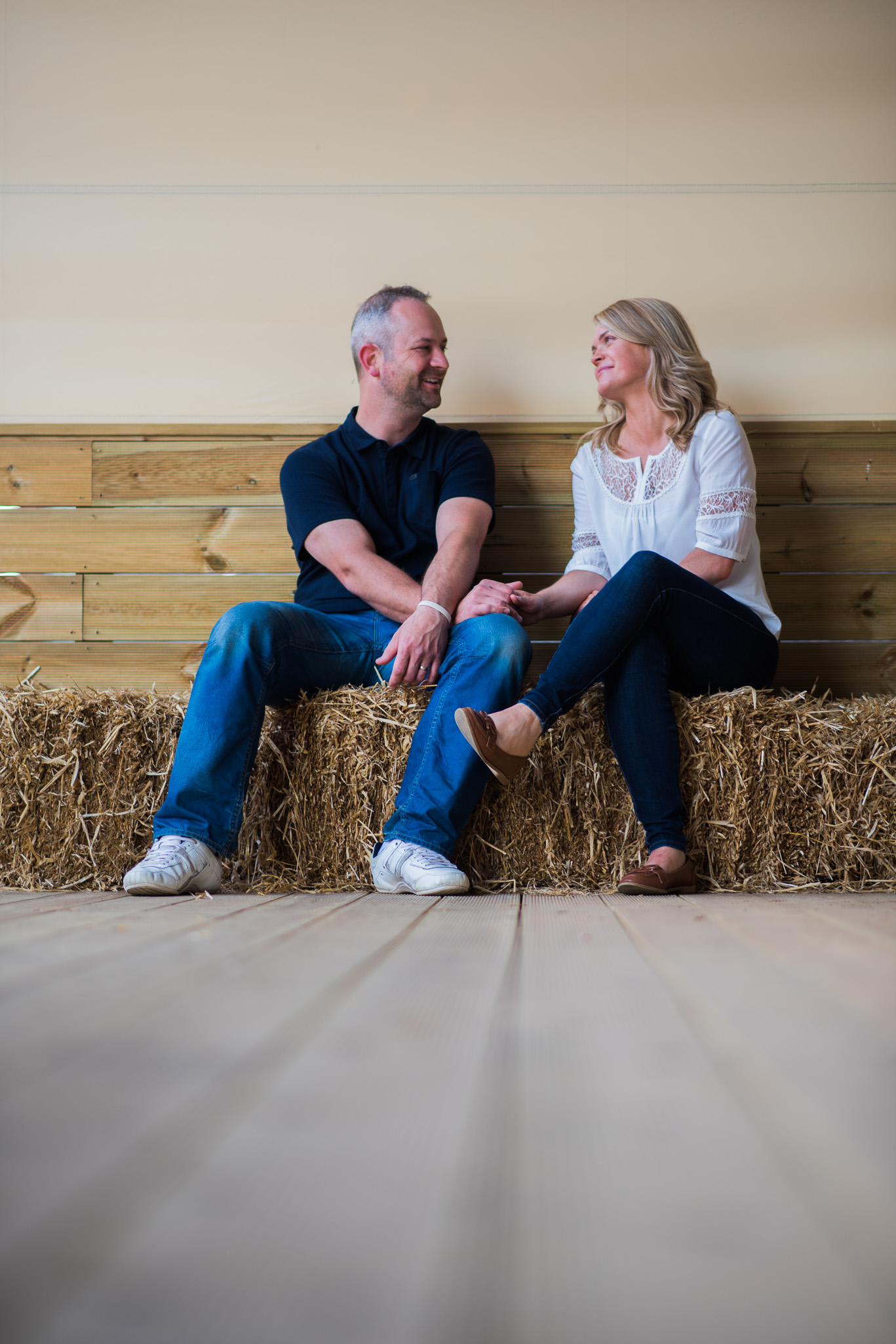 Inside barn at Dalduff Farm for Engagement Session