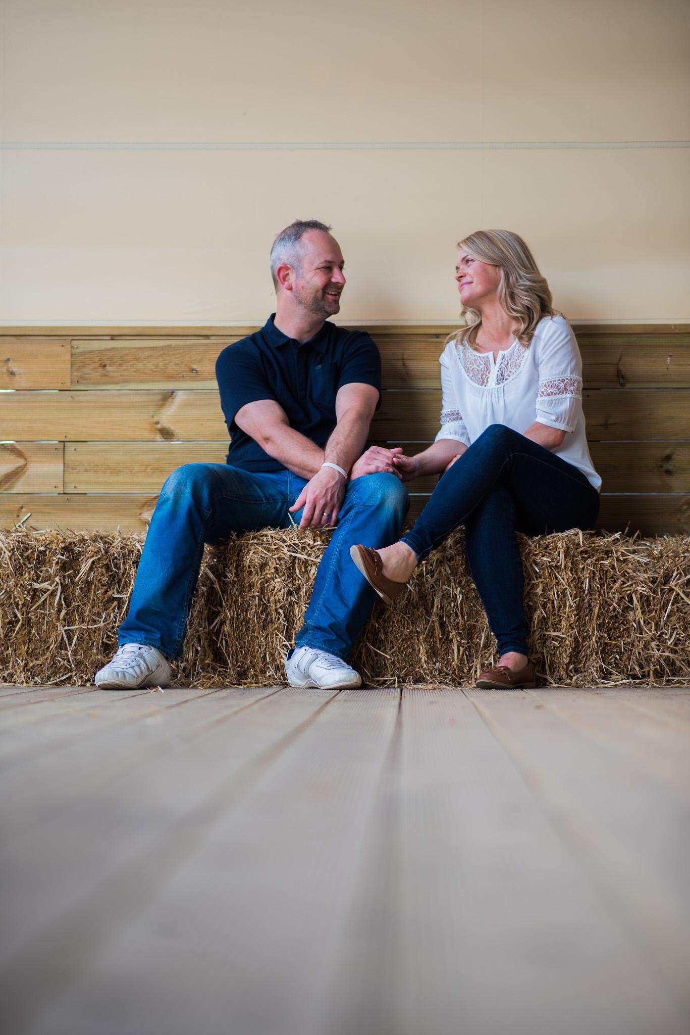 Inside barn at Dalduff Farm for Engagement Session