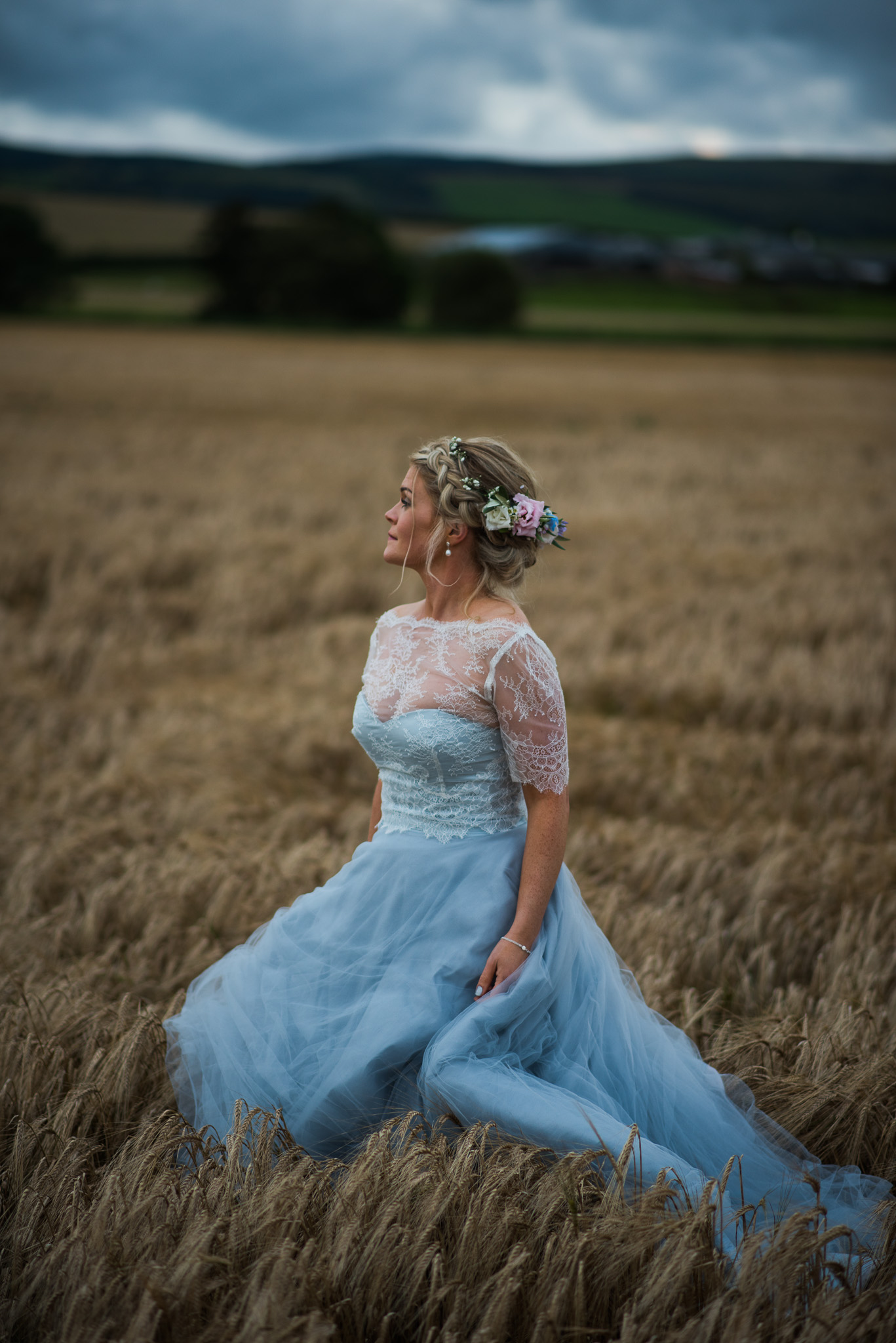 Bride wearing Flossy & Dossy dress at Dalduff Farm