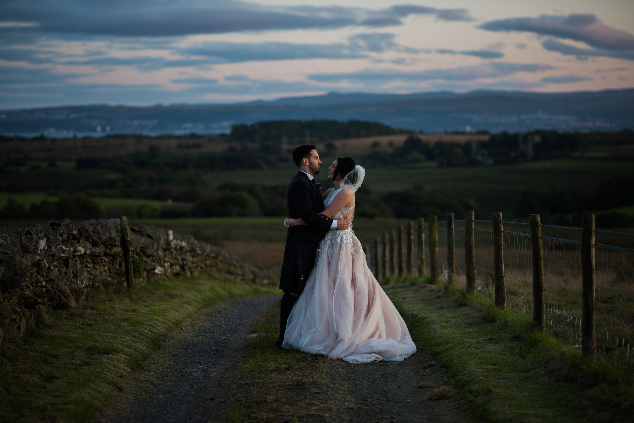 Bride and Groom on Farm Track near The Cruin Loch Lomond