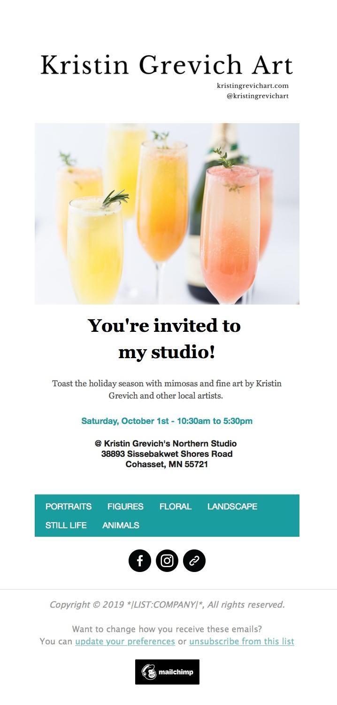 MailChimp newsletter for an artist.