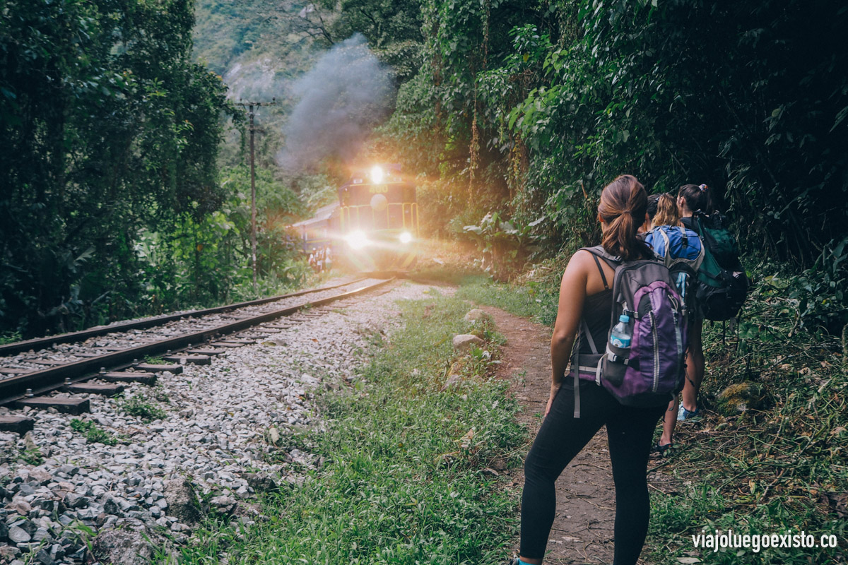 Un tren aproximándose, pasan muy pocos así que no es peligroso