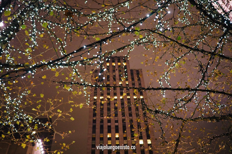 Vistas de un árbol iluminado con el Top of the Rock de fondo