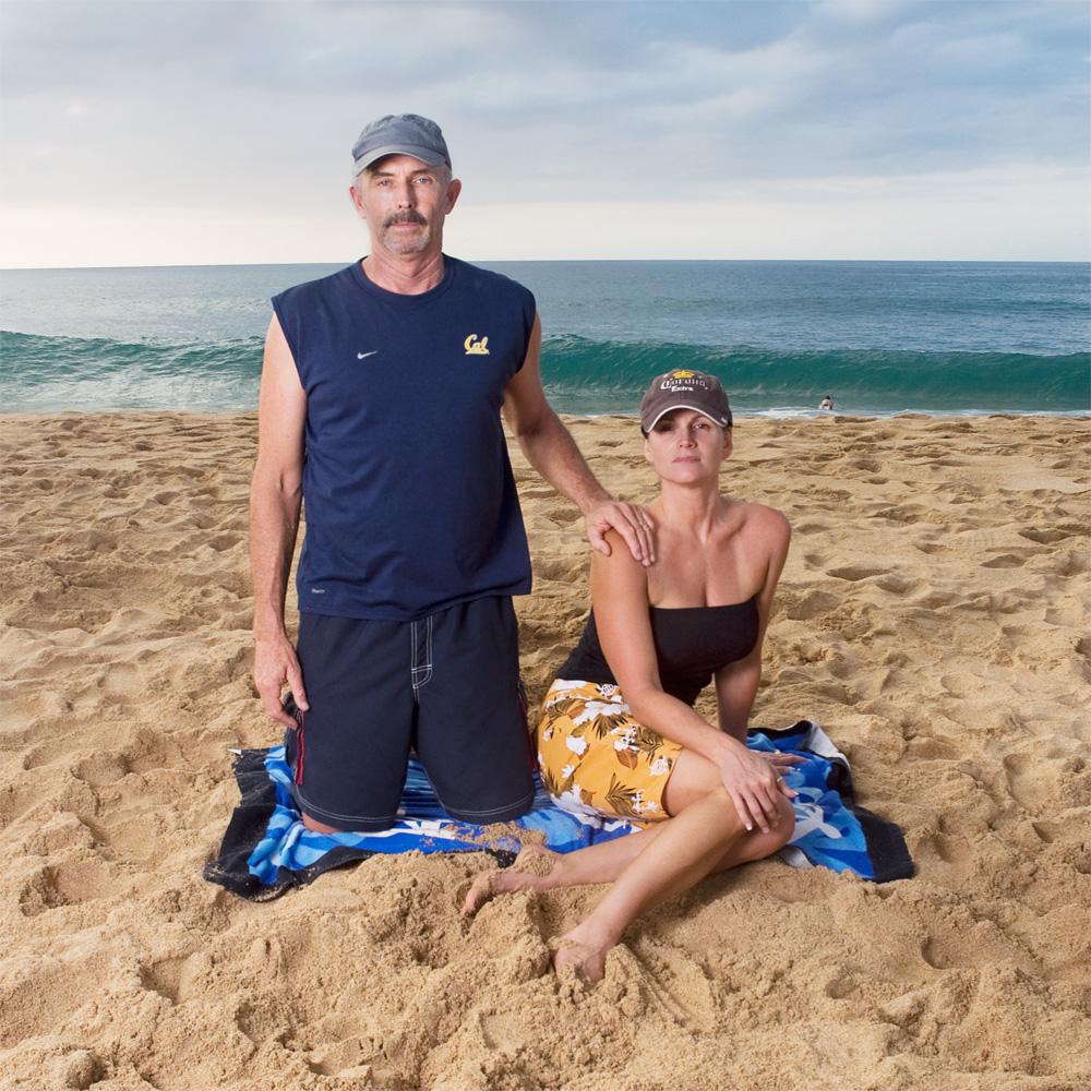 "Ann & Dan Clark    Waimea Bay Beach Park,Oct. 21, 2010    Archival Pigment Print, 19.75"" x 19.75"""