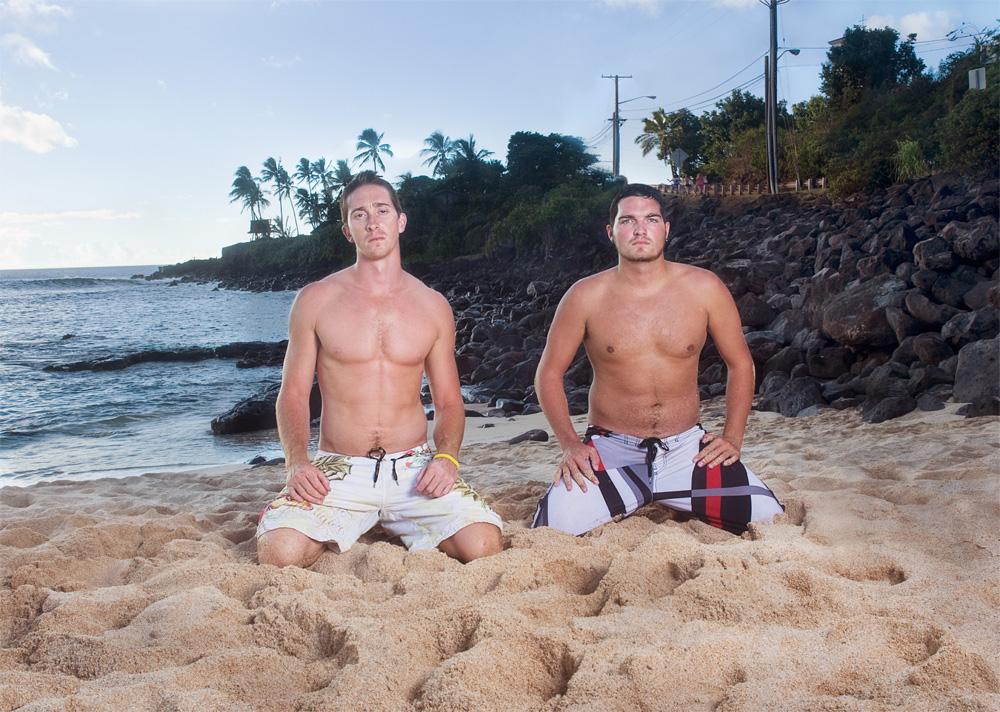 "Rich Taylor & Chris Blizard    Waimea Bay Beach Park,Sept. 25, 2010    Archival Pigment Print, 27.5"" x 19.75"""